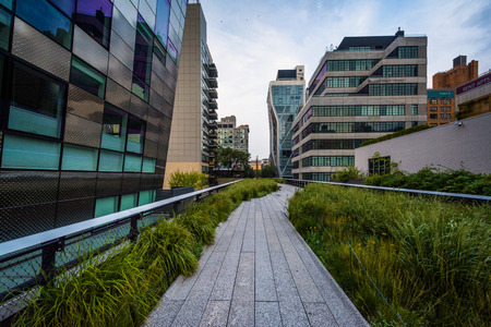Buildings and walkway on The High Line, in Chelsea, Manhattan, New York.