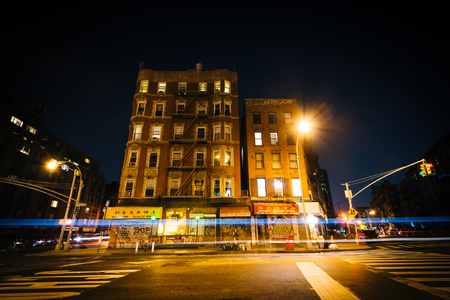 lower east side: Buildings on Rutgers Street at night, in the Lower East Side, Manhattan, New York. Editorial