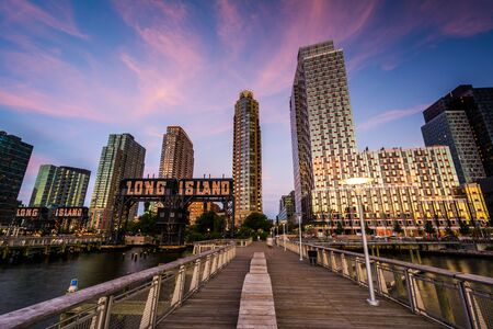 long island: Pier and Long Island City at sunset, seen from Gantry Plaza State Park, Queens, New York.