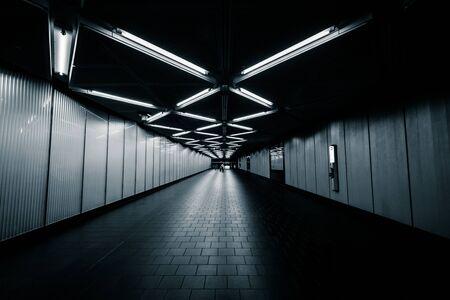 dark city: The Dey Street Passageway, in Lower Manhattan, New York.