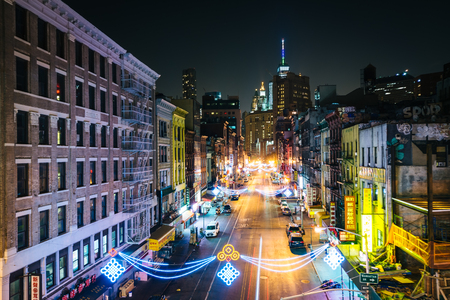 lower east side: View of East Broadway at night, in the Lower East Side, in Manhattan, New York.