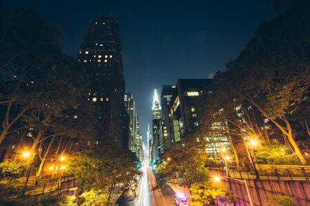 42nd: 42nd Street at night, seen from Tudor City, in Midtown Manhattan, New York.
