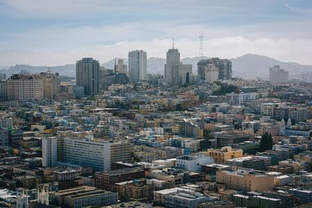 coit: View from the Coit Tower in San Francisco, California. Stock Photo