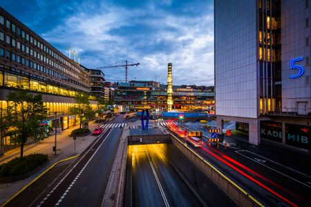 View of Sergels Torg at twilight, in Norrmalm, Stockholm, Sweden.