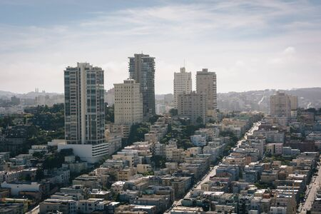 coit tower: View from the Coit Tower in San Francisco, California. Stock Photo