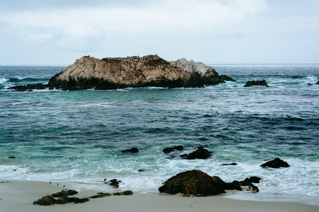 state of mood: Rocks and waves in the Pacific Ocean, seen from the 17 Mile Drive, in Pebble Beach, California.