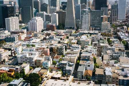 coit tower: View of the downtown from Coit Tower in San Francisco, California. Editorial