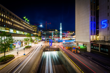 norrmalm: View of Sergels Torg at night, in Norrmalm, Stockholm, Sweden. Editorial
