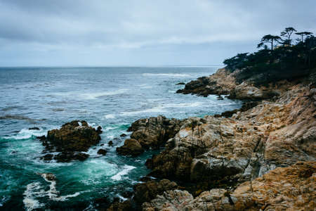 pebble beach: View of the rocky Pacific Coast from the 17 Mile Drive, in Pebble Beach, California. Stock Photo
