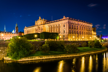 stan: Riksdagshuset, The Parliament House at night, in Galma Stan, Stockholm, Sweden.