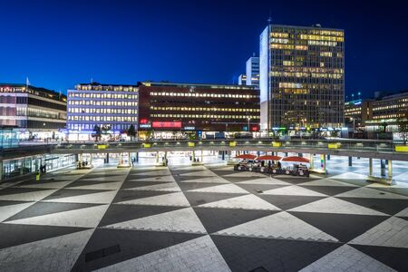 View of Sergels Torg at night, in Norrmalm, Stockholm, Sweden. Editorial