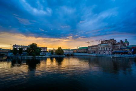 Sunset over Helgeandsholmen and Norrmalm, in Stockholm, Sweden. Stock Photo