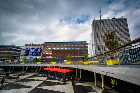 norrmalm: Modern buildings and pedestrian plaza at Sergels torg, in Norrmalm, Stockholm, Sweden. Editorial