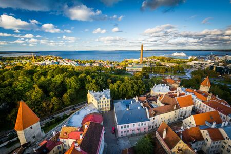 View of the Old Town and the Baltic Sea from St. Olafs Church Tower, in Tallinn, Estonia.