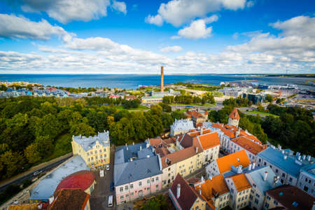 overlook: View of the Old Town and Baltic Sea from St. Olafs Church Tower, in Tallinn, Estonia. Stock Photo
