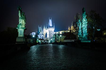 The Charles Bridge at night, in Prague, Czech Republic.