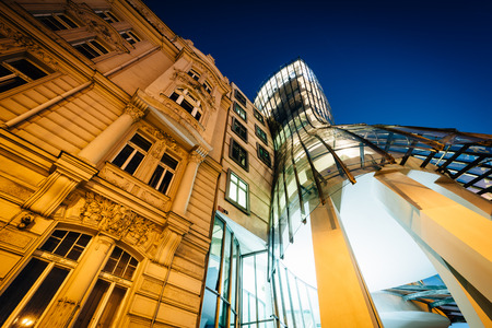 dancing house: The Dancing House at night, in Prague, Czech Republic.