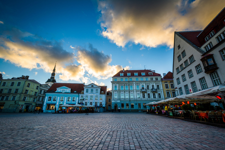 old town square: Old Town Square at sunset, in Tallinn, Estonia.