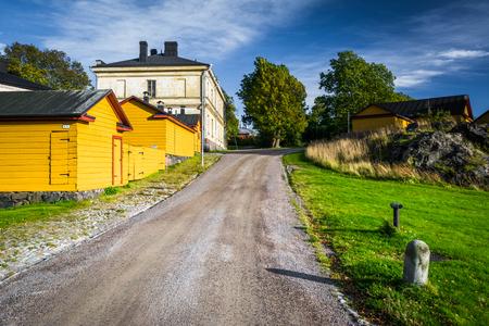 europeans: Buildings and road on Suomenlinna, in Helsinki, Finland.