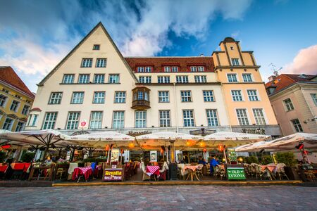 old town square: Buildings at Old Town Square at sunset, in Tallinn, Estonia.