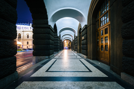 faculty: Arches at the Faculty of Arts Building at Charles University in Prague, Czech Republic.