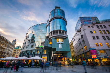stephansplatz: Pedestrian traffic and buildings at Stephansplatz, in Vienna, Austria.