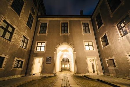 residenz: Interior corridor of the Munich Residenz at night, in Munich, Germany. Editorial