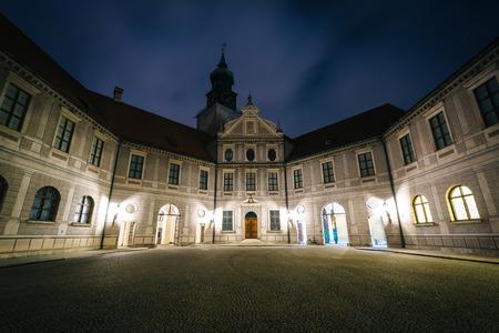 residenz: The Brunnenhof Courtyard at night at Munich Residenz, in Munich, Germany.