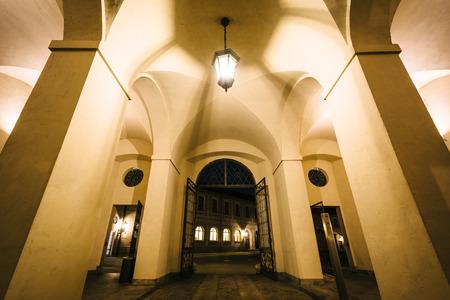 residenz: Hallway at the Munich Residenz at night, in Munich, Germany.