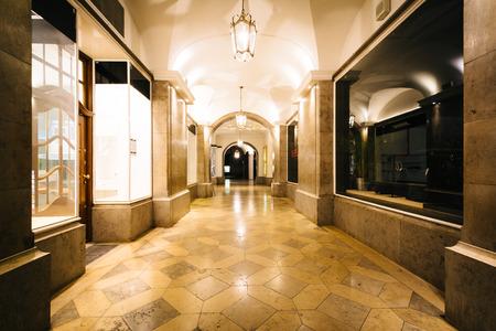 A passageway at night, near Odeonsplatz, in Munich, Germany.
