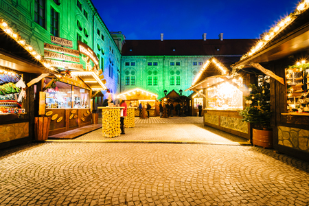 residenz: Christmas Market at night, at the Munich Residenz, in Munich, Germany.