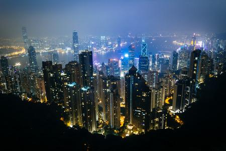 hong kong: Hazy view from Victoria Peak at night, in Hong Kong