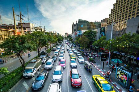 henri: View of traffic on Henri Dunant Road, in Bangkok, Thailand.