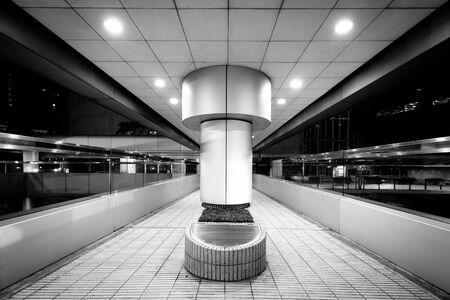 elevated walkway: Elevated walkway at night, at Central, in Hong Kong