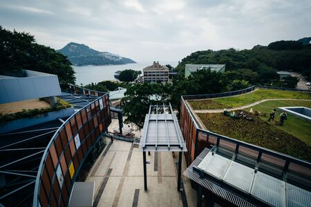 stanley: View of buildings at Stanley, on Hong Kong Island, Hong Kong. Stock Photo