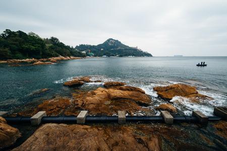 stanley: Rocky coast at Stanley, on Hong Kong Island, Hong Kong. Stock Photo