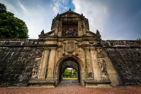 Ingang aan Fort Santiago, in Intramuros, Manilla, de Filippijnen. Stockfoto