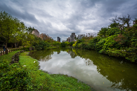 Lake at Daan Forest Park in Taipei, Taiwan.