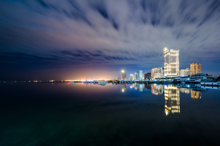 Manila Bay at night, seen from Harbour Square, in Pasay, Metro Manila, The Philippines.