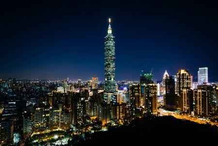 View of Taipei 101 and the Taipei skyline at night, from Elephant Mountain, in Taipei, Taiwan.
