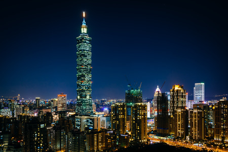 View of Taipei 101 and the Taipei skyline at night, from Elephant Mountain, in Taipei, Taiwan.