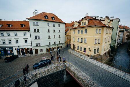 View of buildings along Certovka, in Prague, Czech Republic.