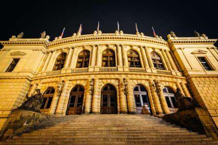 The Czech Philharmonic Building at night, in Prague, Czech Republic.