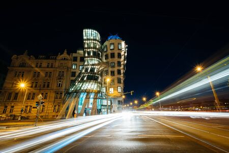 The Dancing House at night, in Prague, Czech Republic.