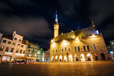 old town hall: Old Town Hall and Old Town Square at night, in Tallinn, Estonia. Editorial