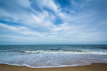 ocean state: Waves in the Atlantic Ocean at Cape Henlopen State Park, in Rehoboth Beach, Delaware.