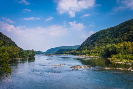 west virginia trees: View of the Potomac River, from Harpers Ferry, West Virginia.