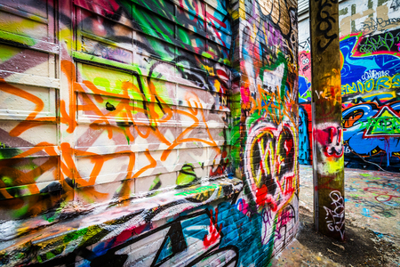 Graffiti Alley, in the Station North District of Baltimore, Maryland.