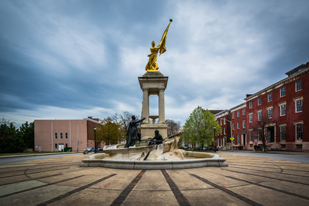 scott monument: The Francis Scott Key Monument in Bolton Hill, Baltimore, Maryland. Stock Photo