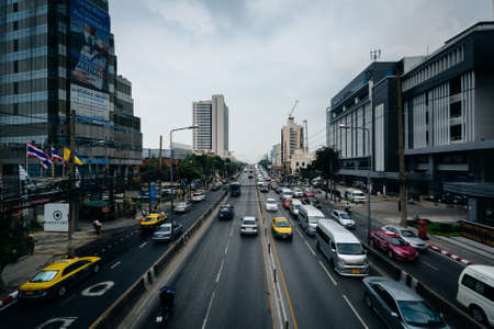 View of traffic on Thanon Si Ayutthaya, in Bangkok, Thailand. Editorial